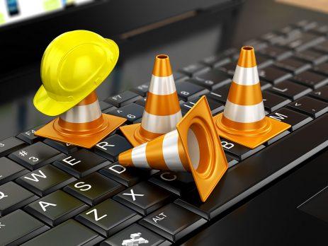 traffic cone on keyboard