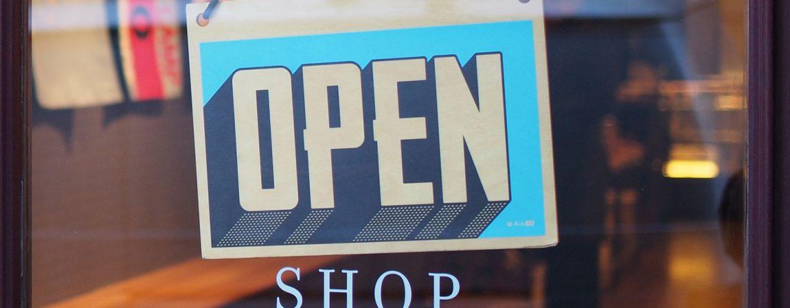 open sign on store door